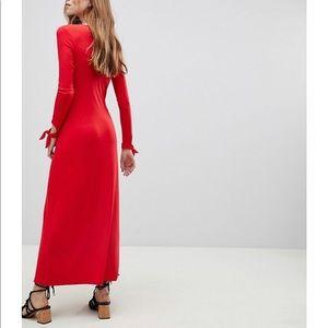 ASOS Dresses - ASOS DESIGN red maxi tea dress button down dress